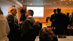 El Director de la Cátedra de Innovación Cerámica, Juan B. Carda junto al Vicepresidente del CSIC, Ángel Caballero, en la reunión de Foro Transfiere realizada en Madrid.